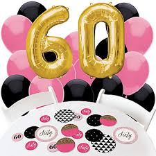 Pink And Yellow Birthday Decorations Chic 60th Birthday Pink Black And Gold Confetti And Balloon