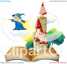 clipart of a wizard holding a magic wand and floating on a cloud