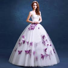 gown for wedding purple wedding dress 2016 fashionable butterfly appliques