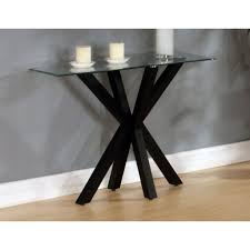 Black Console Table Langley Black Console Table With Unique Legs Design And Glass