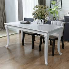 High Gloss White Laminate Flooring Vidaxl Dining Table 47 2