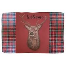 Deer Themed Home Decor Distressed Deer Stag By Tree Heraldic Crest Emblem Throw Pillow