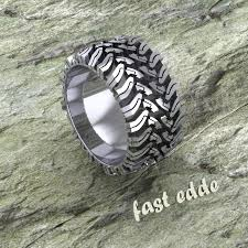 tire wedding ring tread ring silver or gold edde designs