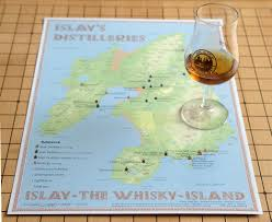 Scotch Whisky Map Distilleries Islay Tasting Map 24x34cm