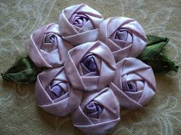 silk ribbon roses 1920s silk ribbon roses applique 7 lavendar rosettes with silk