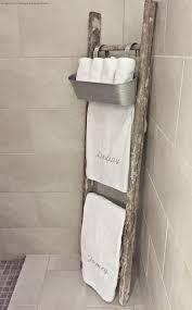 Towel Rack Ideas For Bathroom Whimsy Design Master Bathroom Old Rustic Ladder Used As