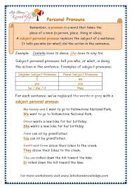 grade 3 grammar topic 10 personal pronouns worksheets lets