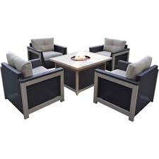 Patio Table Fire Pit by Hanover Fire Pit Sets Outdoor Lounge Furniture The Home Depot
