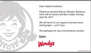 wendy s opening hours