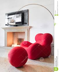 Living Room Arm Chair Modern Red Armchair In Living Room Royalty Free Stock Photography