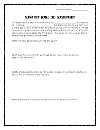 6 best images of sample parent teacher conference note printable