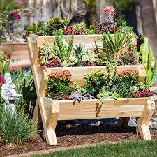 Raised Garden Bed With Bench Seating Cedarcraft Cascading Garden Planter