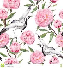 kranvögel tanz pfingstrosenblumen wiederholendes asiatisches