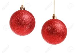 two hanging frosted balls isolated on white