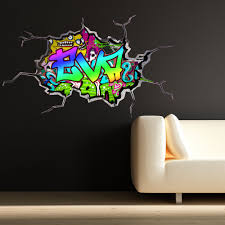 full colour personalised 3d graffiti name cracked wall art full colour personalised 3d graffiti name cracked wall art stickers decals mural ebay