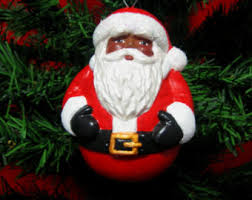 black santa ornament etsy