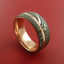 damascus steel wedding band damascus steel 14k gold ring wedding band custom made