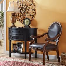 console table design layout comes with half round top shelf and