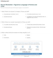 quiz u0026 worksheet figurative language in romeo and juliet study com