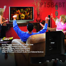powered home theater speakers pyle pt584bt 5 1 channel home theater speaker system active