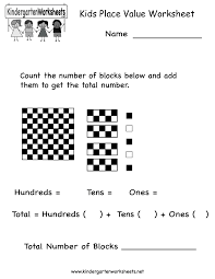 kids place value worksheet free kindergarten math worksheet for kids