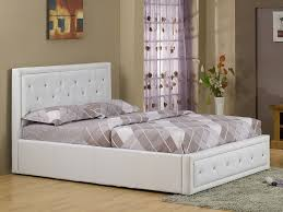 hollywood king size white faux leather ottoman bed frame