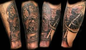 awesome clock tattoo design make on sleeve tattooshunter com