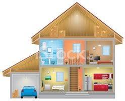 home interior vector vector of home interior with an attic and garage stock vectors