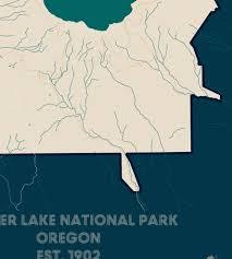 Crater Lake Oregon Map by Crater Lake National Park Map Print Art Prints U0026 Posters Muir