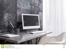 Wire Computer Desk Modern Computer Desk For Those Who Love Minimalism Stock Photo
