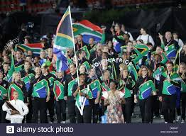 Ceremony Flag Olympic Team Of South Africa With Flag Bearer And Athlete Caster