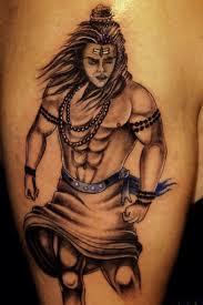 black ink lord shiva tattoo on half sleeve