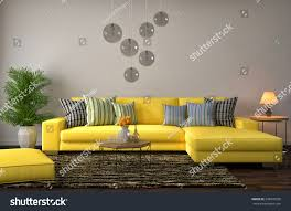 interior yellow sofa 3d illustration stock illustration 336870536