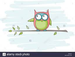 cartoon of an owl sitting on a branch stock vector art
