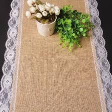 home decor table runner 30 180cm beautiful burlap edge flower lace table runner outdoor