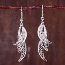 filigree earrings filigree leaves in crafted sterling silver earrings
