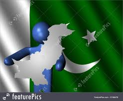Pakistans Flag Signs And Info Man With Pakistan Map On Flag Stock Illustration