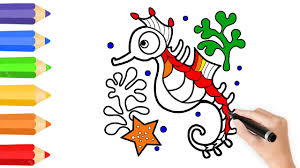 seahorse coloring pages u0026 drawing for children how to color by
