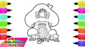 kids painting coloring pages how to draw and coloring mushroom