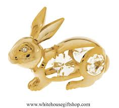 ornament gold easter bunny rabbit ornament or desk model
