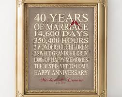 40th anniversary gifts for parents wedding anniversary gift 40th anniversary gift personalized