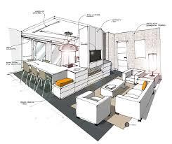 projet d animation cuisine cuisine ouverte sur salon blanc croquis architecture intérieure