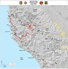 Fires In California Map Cal Fire Briefing Map 8 4 16 Pdf Map Links Big Sur California