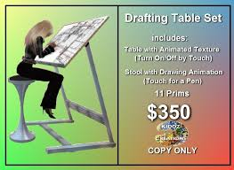 Drafting Table Set Second Life Marketplace Drafting Table Set Animated