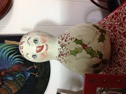 large painted gourd snowman things i painted pinterest