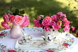 Rose Petal Table Cloth Roses Flowers Bouquets Vase Basket Table Service Tablecloth Tea