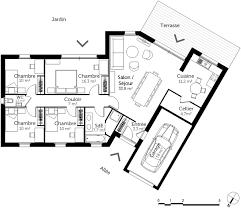 plan maison 4 chambre plan de maison plain pied 4 chambres en v