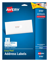 Mailing Label Templates 30 Per Sheet Avery Easy Peel Reg Address Labels 1 Quot X 2 5 8 Quot 750