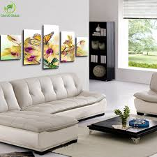 Living Room Definition by 5 Panel Large Modern Flower Butterfly Canvas Painting Cuadros Wall