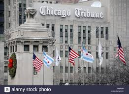 Chicago Flags The Michigan Avenue Bridge Tower With Flags Blowing In The Wind In